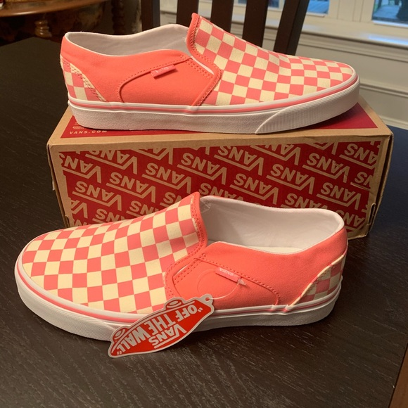 New Box Men/'s Asher Slip On Sneakers Red//White Checkered Shoes Size 13 Medium